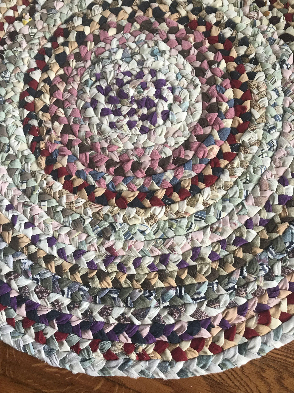Handmade rag rug round rug farmhouse rug cabin rug
