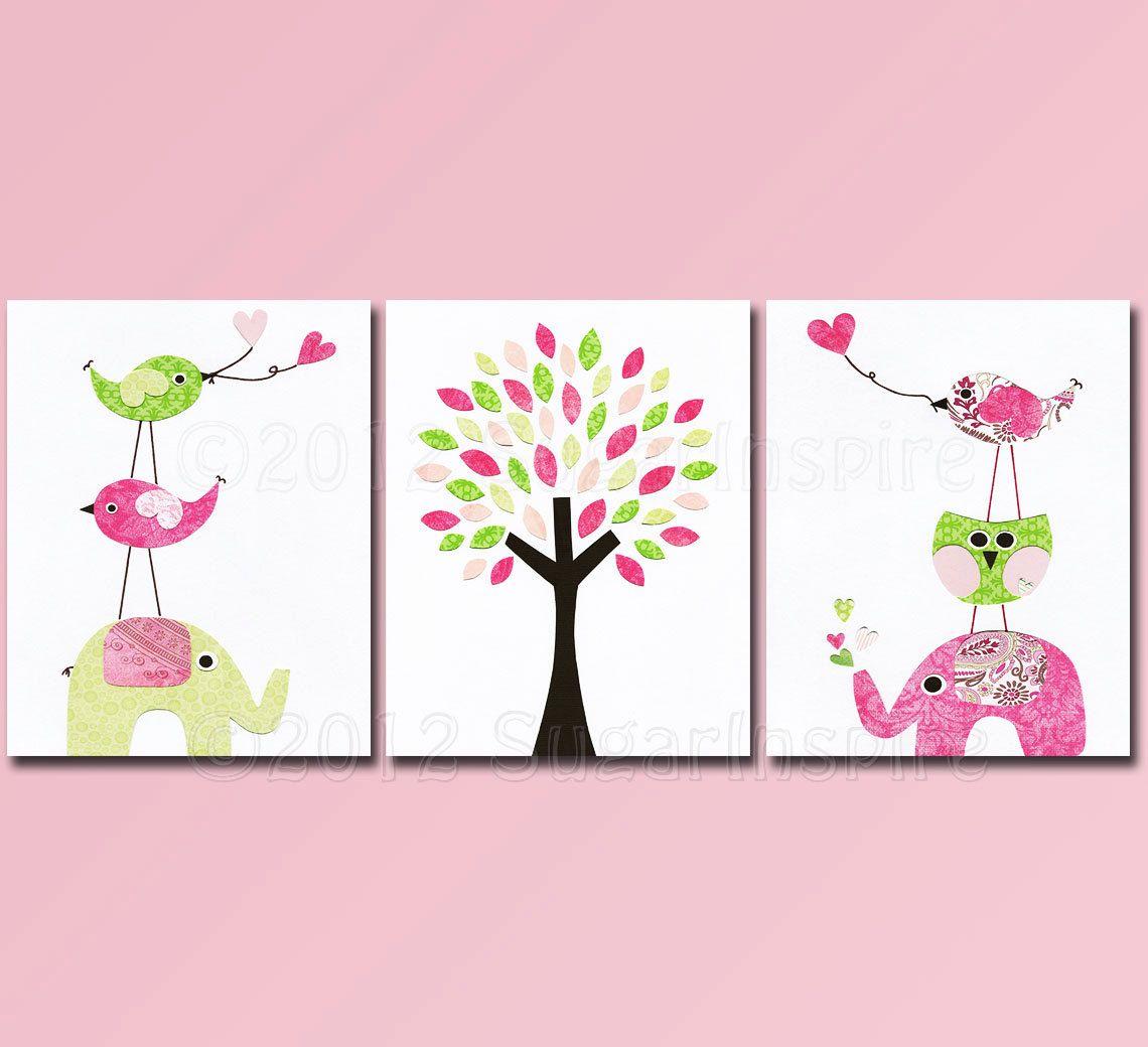 Pink and green nursery art print set kids room decor babychildren