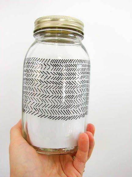 Porcelain pens on mason jars.