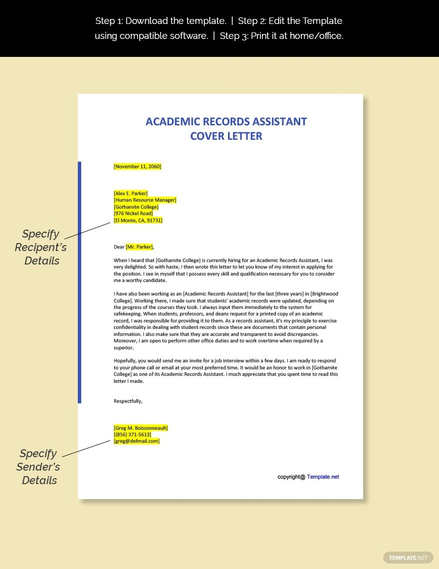 FREE Academic Records Assistant Cover Letter Word