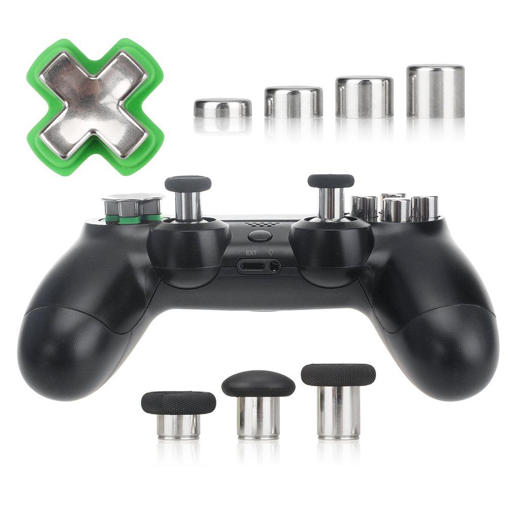 XFUNY PS4 Swap Thumbsticks All Mod Metal Button Replacement