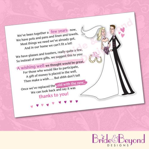 25 x wedding wishing well poem cards for your invitations for Wedding invitation wording re gifts