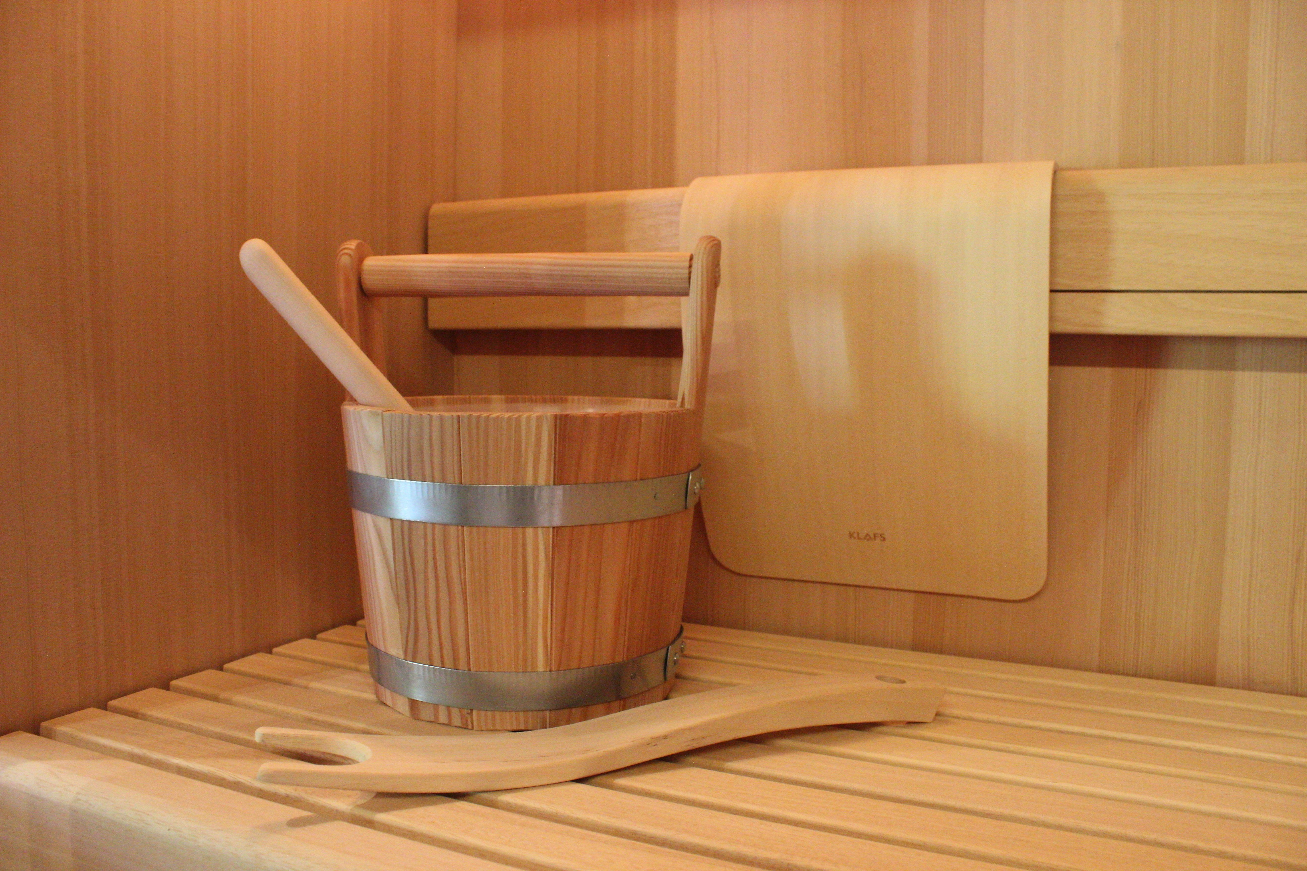 Inside the Sauna of the Future with bucket and ladle and a ...