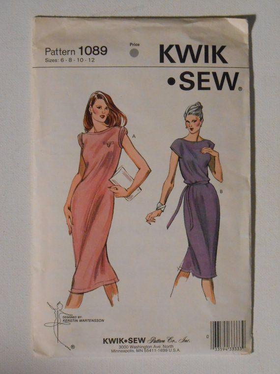 Misses 80s T Shirt Knit Dress Sewing Pattern Kwik Sew 1089 Size 6 8