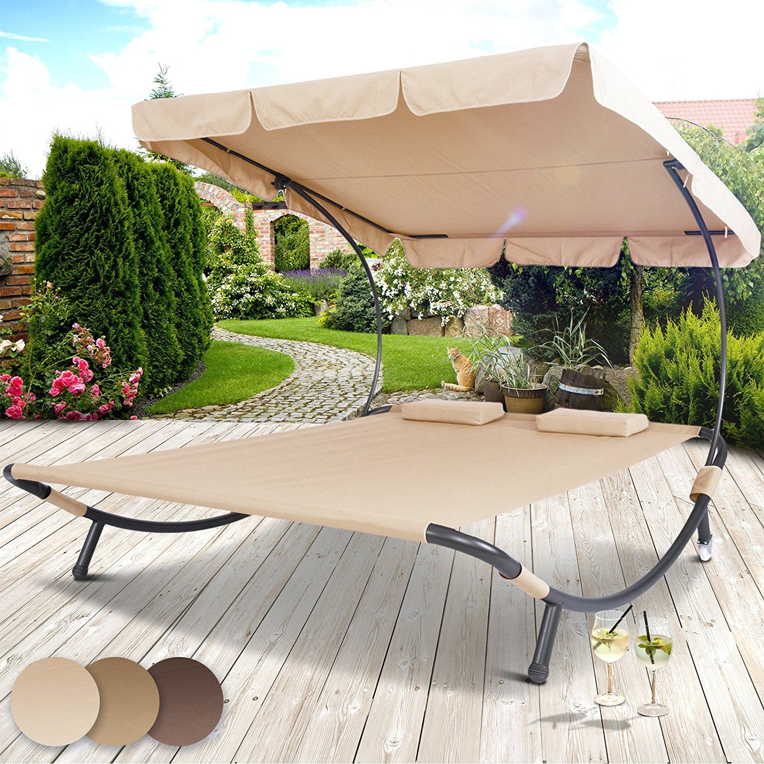 miadomodo sun lounger double day bed hammock chaise outdoor shade canopy garden furniture in different colours