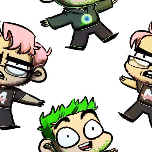 Markiplier and Jacksepticeye both with pink and green