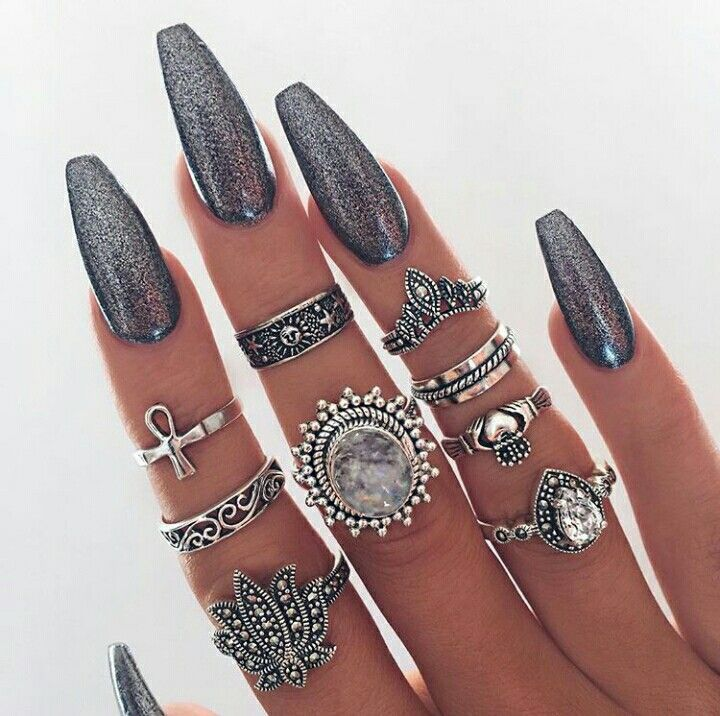 Glitter | Nails | Rings | Boho | Coffin Shape | Nail Inspiration <3 ...