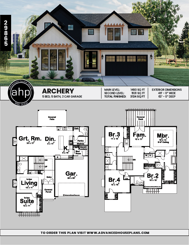 2 Story Modern Farmhouse Style House Plan | Archery