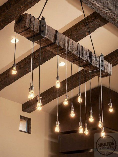 Rustic Wood Beam Light Fixture With Edison Lights Price Varies By Length Of And Contact For Details Lighting Fixtures Pinterest House