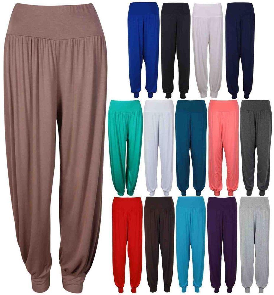 Womens Harem Trousers Ladies Ali Baba Pants Baggy Hareem Leggings Plus Size 8-26