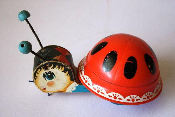 Vintage 1961 Fisher Price ladybug pull toy by KatyGirlGoods, $25.50
