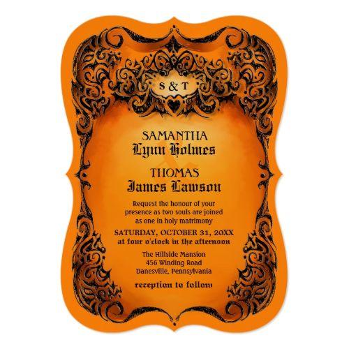 Halloween Wedding Invite - Orange & Black Border | 2017 Halloween ...