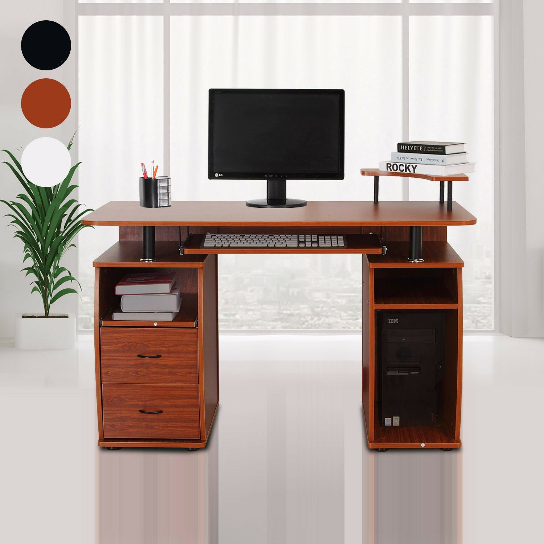 Homcom Bureau Informatique Table Dordinateur Meuble Pc Multimedia