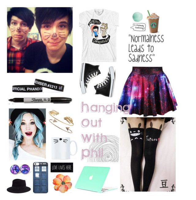 """""""Hanging Out With Amazingphil"""" by earth-to-echo ❤ liked on Polyvore featuring Tai, Eos, Maison Michel and Converse"""