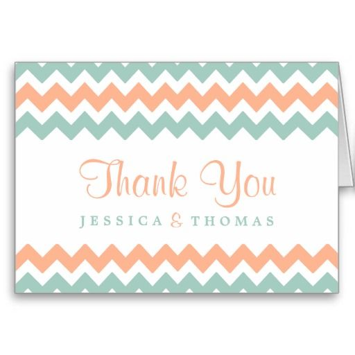 "Simple yet elegant, the modern chevron wedding collection is a stunning design featuring a lovely zig-zag print in a peach, mint and white color, which is perfect for any modern wedding celebration. <br> <br> These thank you cards can be personalized for your special occasion and would make the perfect thank yous for your wedding, bridal shower, engagement party, birthday party and many more special occasions. <br> <br> Add your custom wording to this design by using the ""Edit this design…"