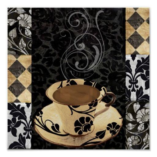 Cafe Noir VI, Damask Decorative Coffee Cup Print