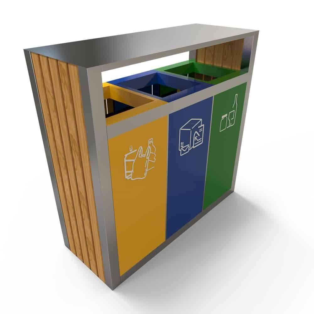 Kuokio Poubelle De Tri Exterieur 3 Compartiments Tri Des Dechets