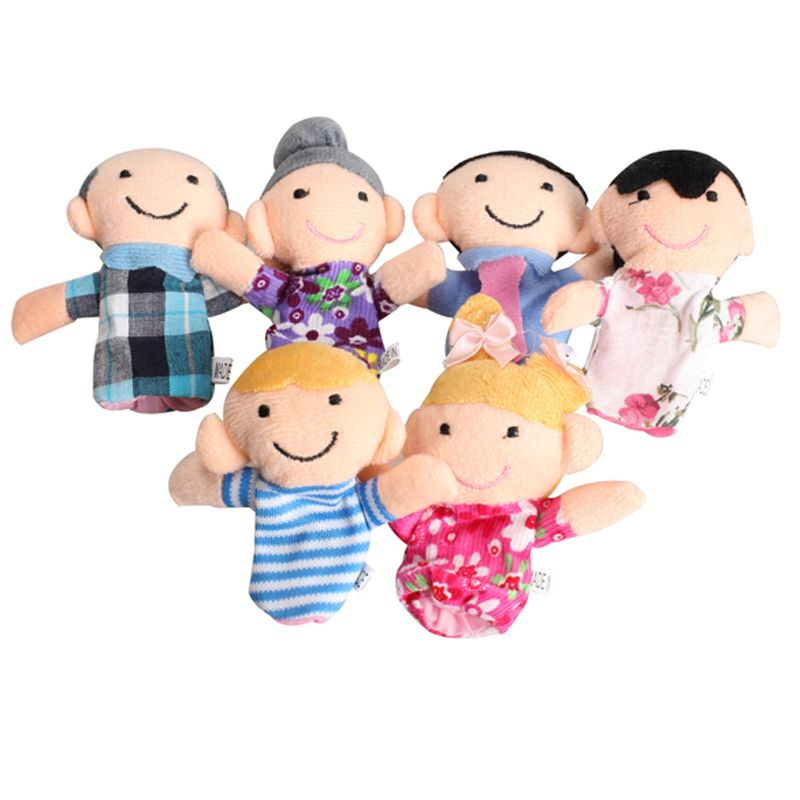 6Pcs  Children Baby Finger Puppets Educational Toy Family Story Hand Cloth Doll