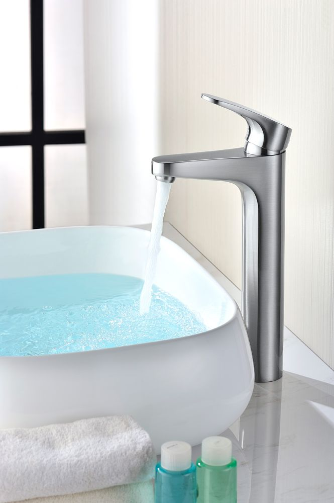 Brushed Br Bathroom Faucet   The Tuscany Nicole Single Handle Vessel Faucet Leaves A Lasting