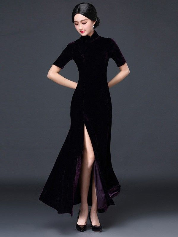 Stretch Velvet Split Front Long Qipao Cheongsam Evening Dress