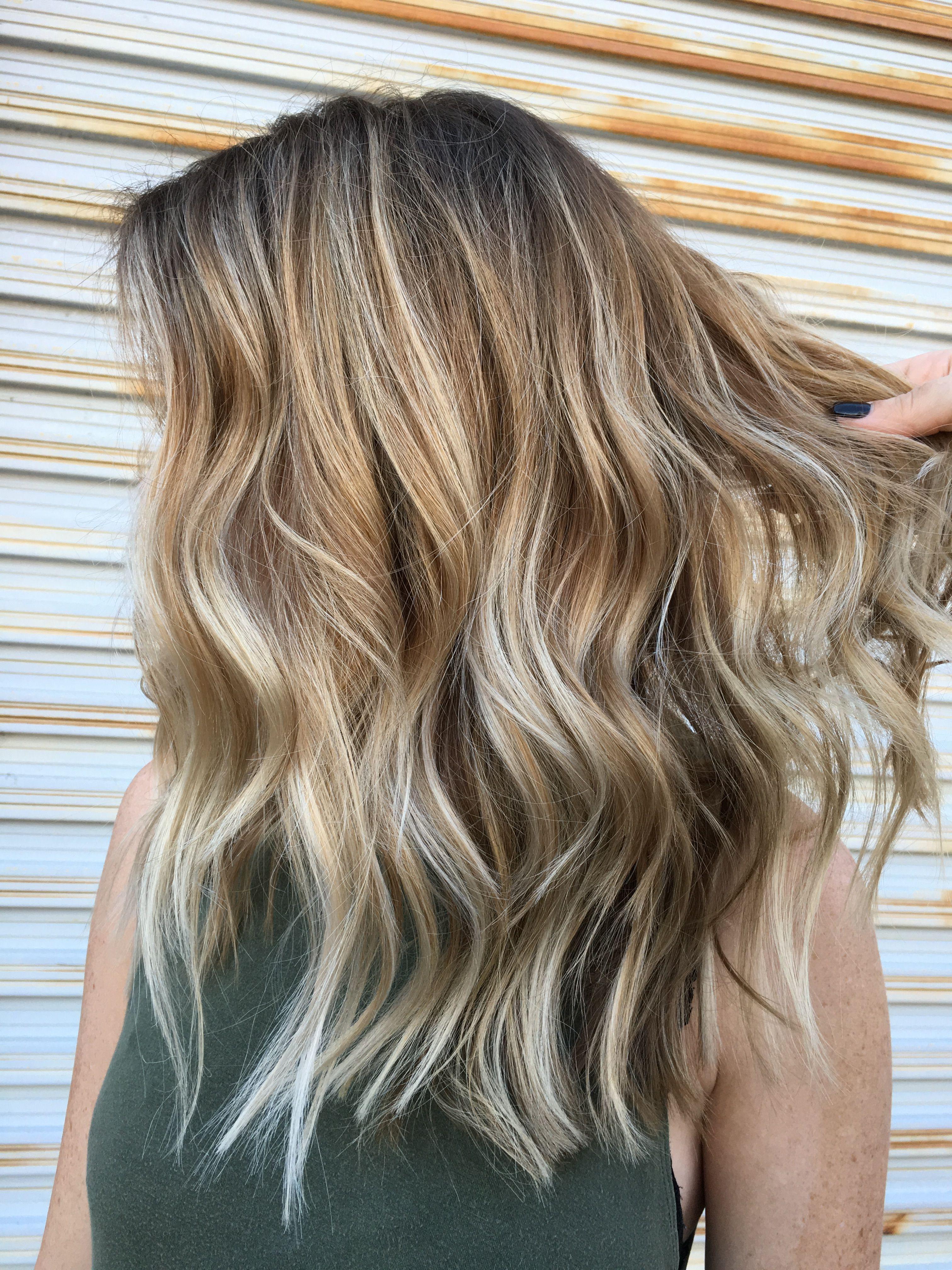 balayage layers medium length choppy blonde | hair | medium