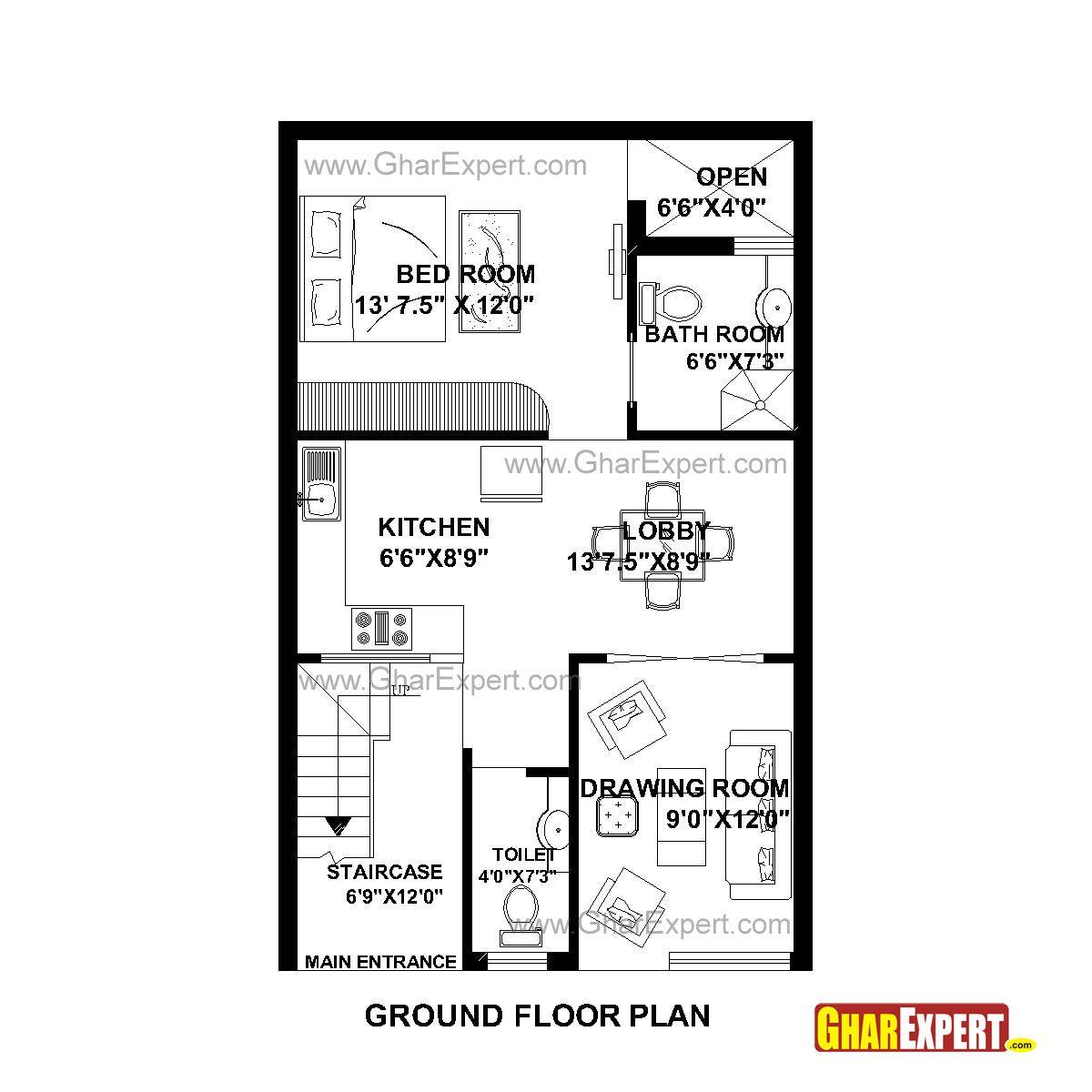 House Plan for 22 Feet by 35 Feet plot (Plot Size 86