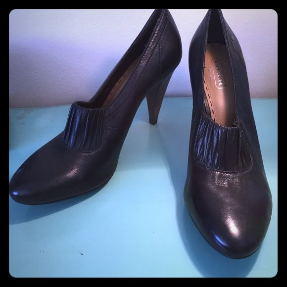 Authentic Coach Black Heels coach black leather high heels, barely worn, super comfortable Coach Shoes Heels