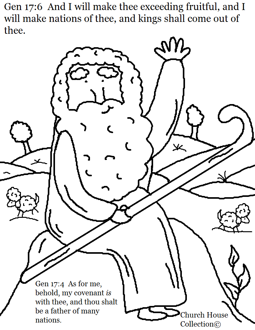 Coloring pages bible stories preschoolers - Abraham Father Of Many Nations Coloring Page Genesis 17 6 And Genesis 17