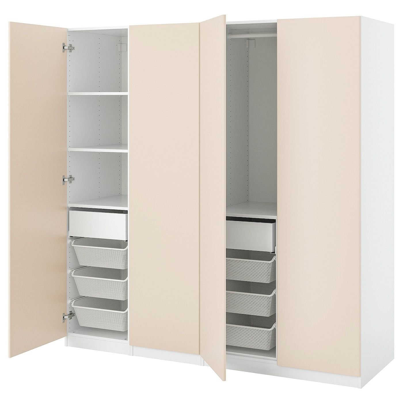 IKEA – PAX / REINSVOLL Wardrobe combination, gray-beige