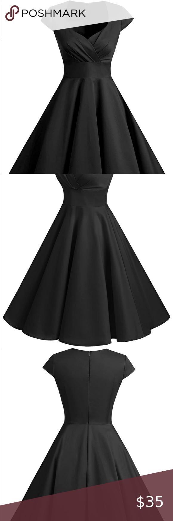 Women Short 1950s Retro Vintage Black Dress In 2020 Vintage Black Dress Black Dress Dresses [ 1740 x 580 Pixel ]