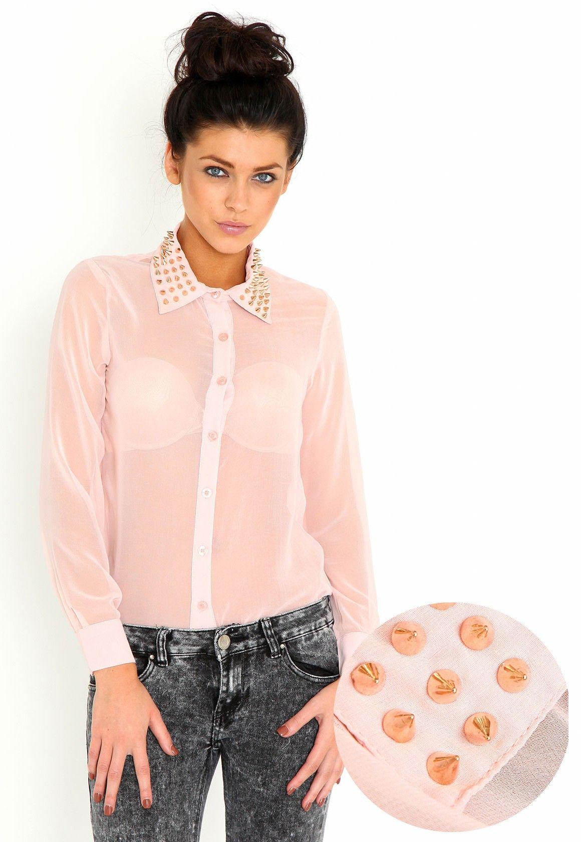 AnnMarie Stud Collar Blouse In Blush