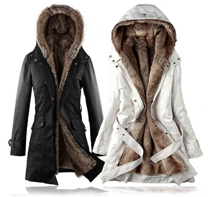 Fashion Women Winter Warm Detachable Faux Fur Lining Long Coat,Two ...