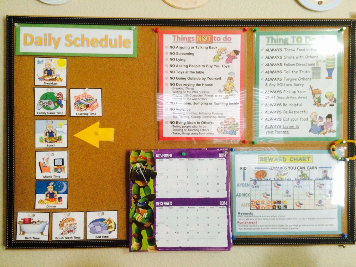 Kid S Board Has House Rules Reward Chart Calender And