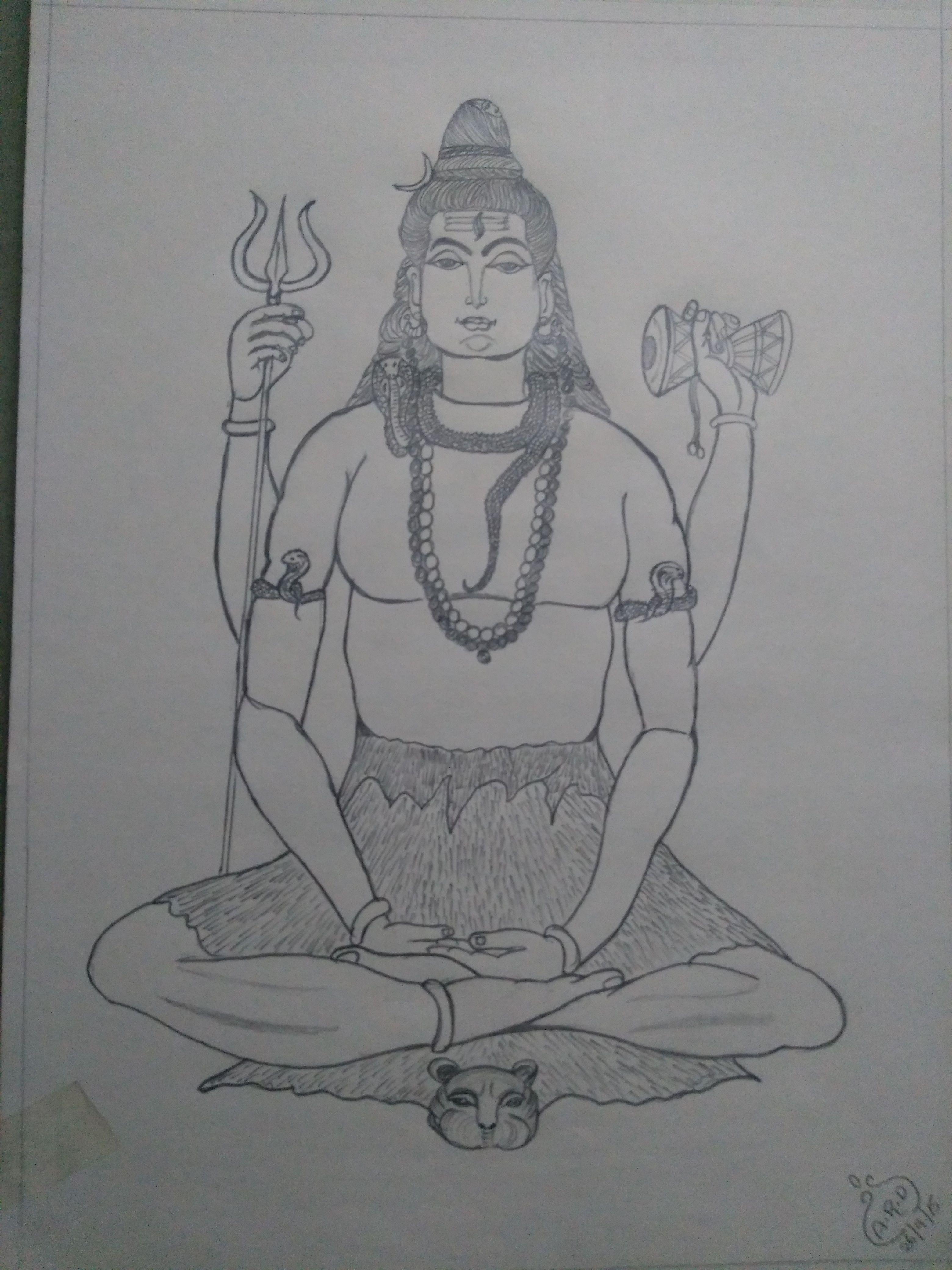 Lord shiva pencil drawing