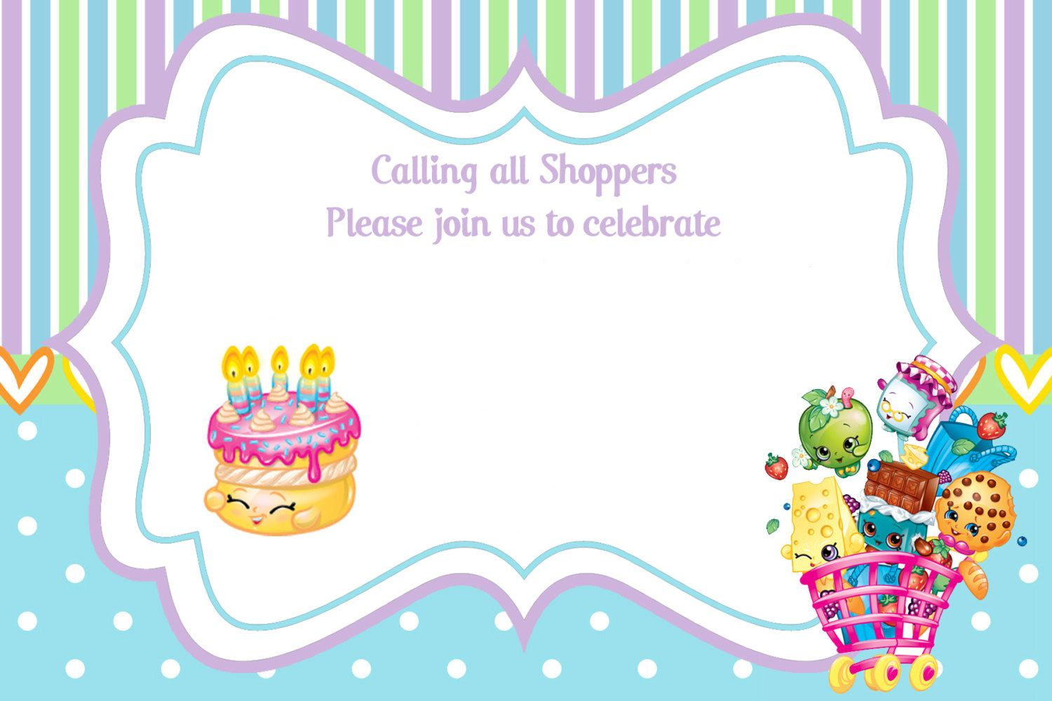 image relating to Free Printable Shopkins Invitations named Current Free of charge Printable Shopkins Birthday Invitation