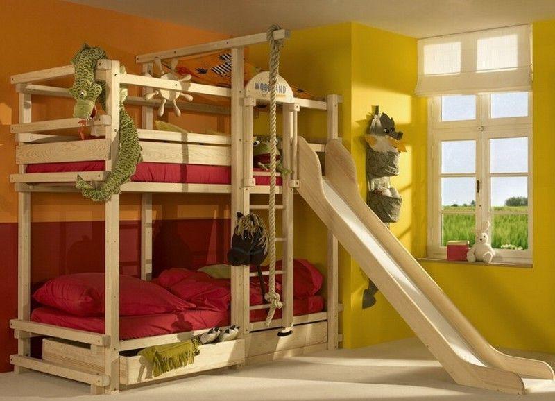 Etagenbett Kinder Rutsche : Hochbett mit rutsche für kinder aus massivem fichtenholz