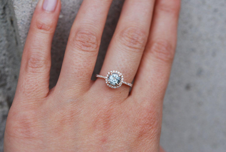 1.13ct Mint green blue round sapphire diamond by EidelPrecious ...