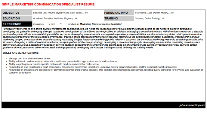 Public Relations Specialist Resume Sample | resume template ...