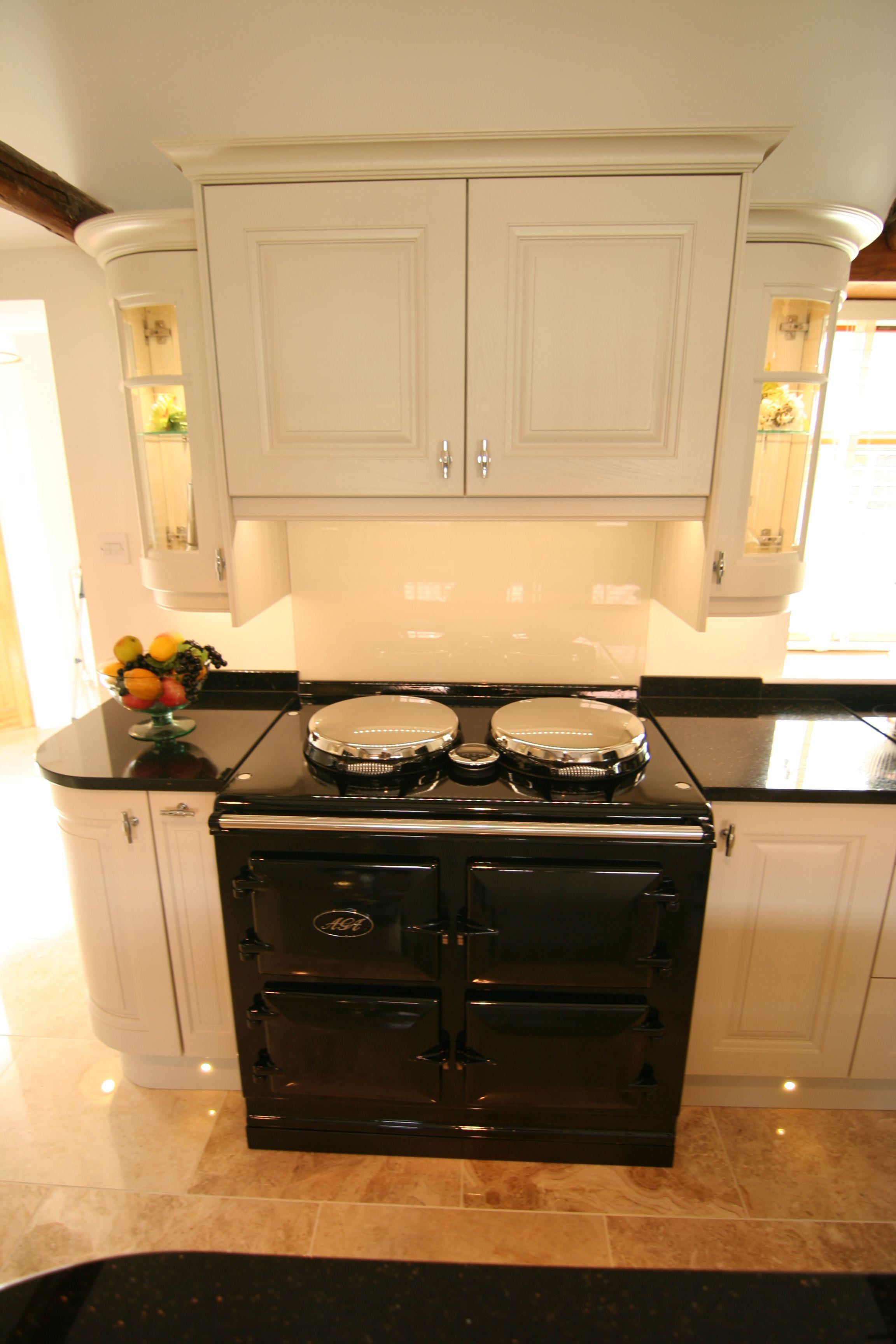 AGA range cooker, Glass splash back, Glass Curved wall units.