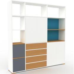 Photo of Regalsystem Weiß – Regalsystem: Schubladen in Eiche & Türen in Weiß – Hochwertige Materialien – 190