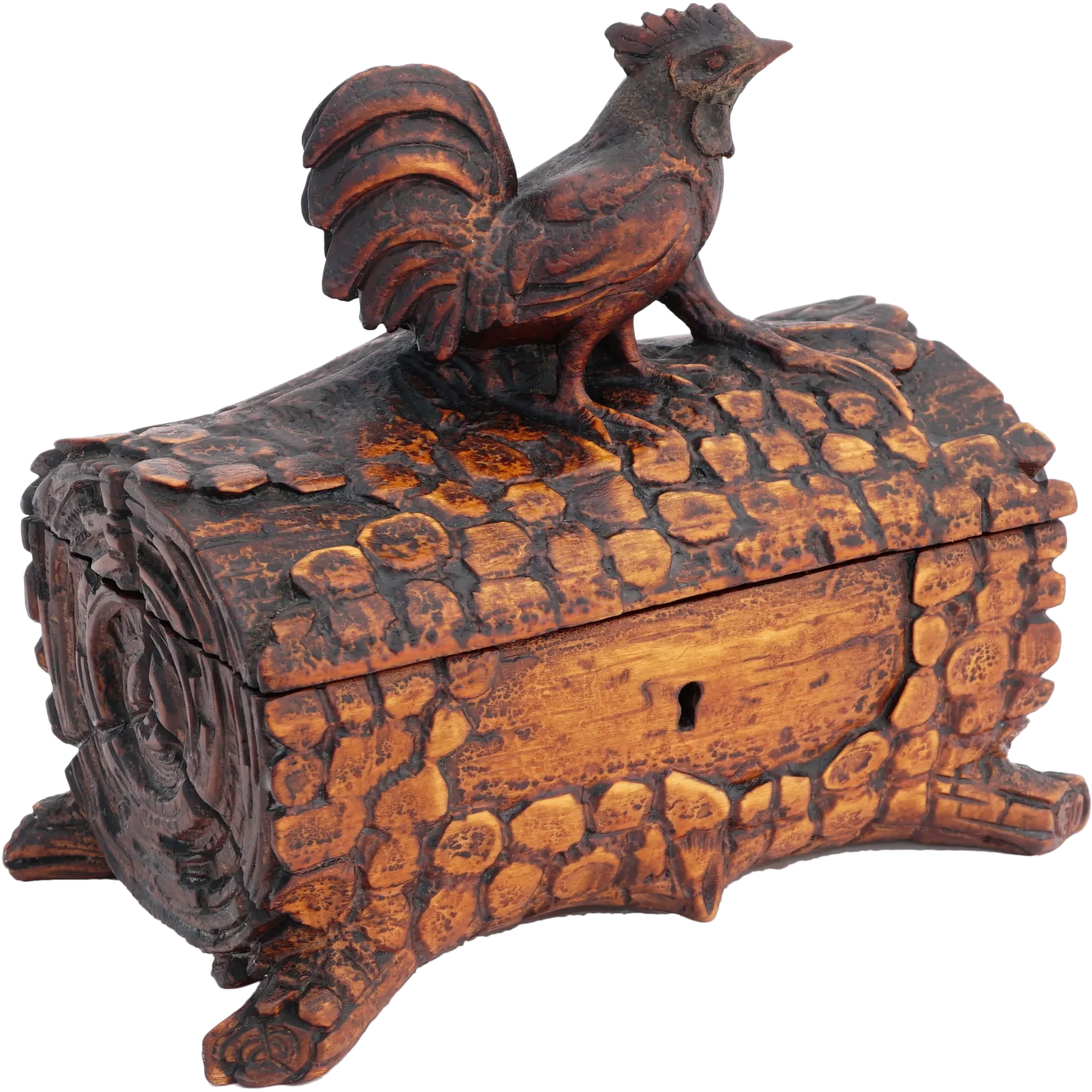 Antique Black Forest Hand Carved Wood Jewelry Box, Country