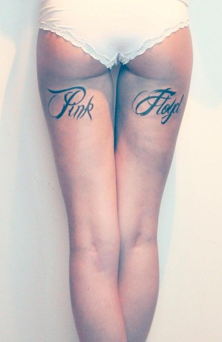 Back of the thigh tattoo - script