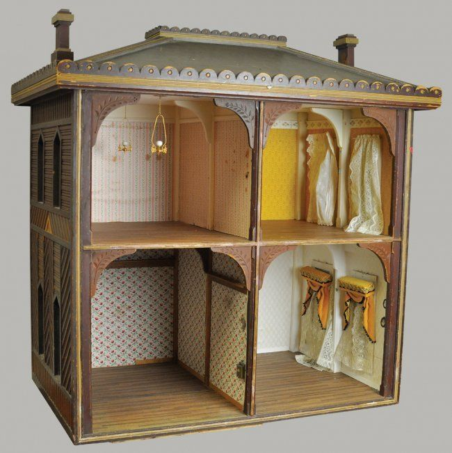 Four Room Wood Antique Open Large Doll House