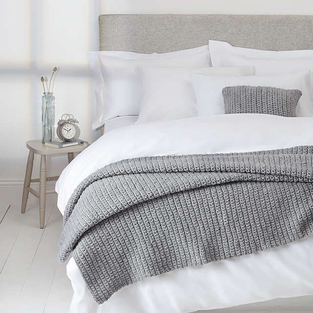 buyjohn lewis croft collection ribbed knit throw blue. Black Bedroom Furniture Sets. Home Design Ideas
