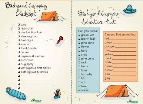 Free Printable Camping Checklist Backyard Camping Toddler And