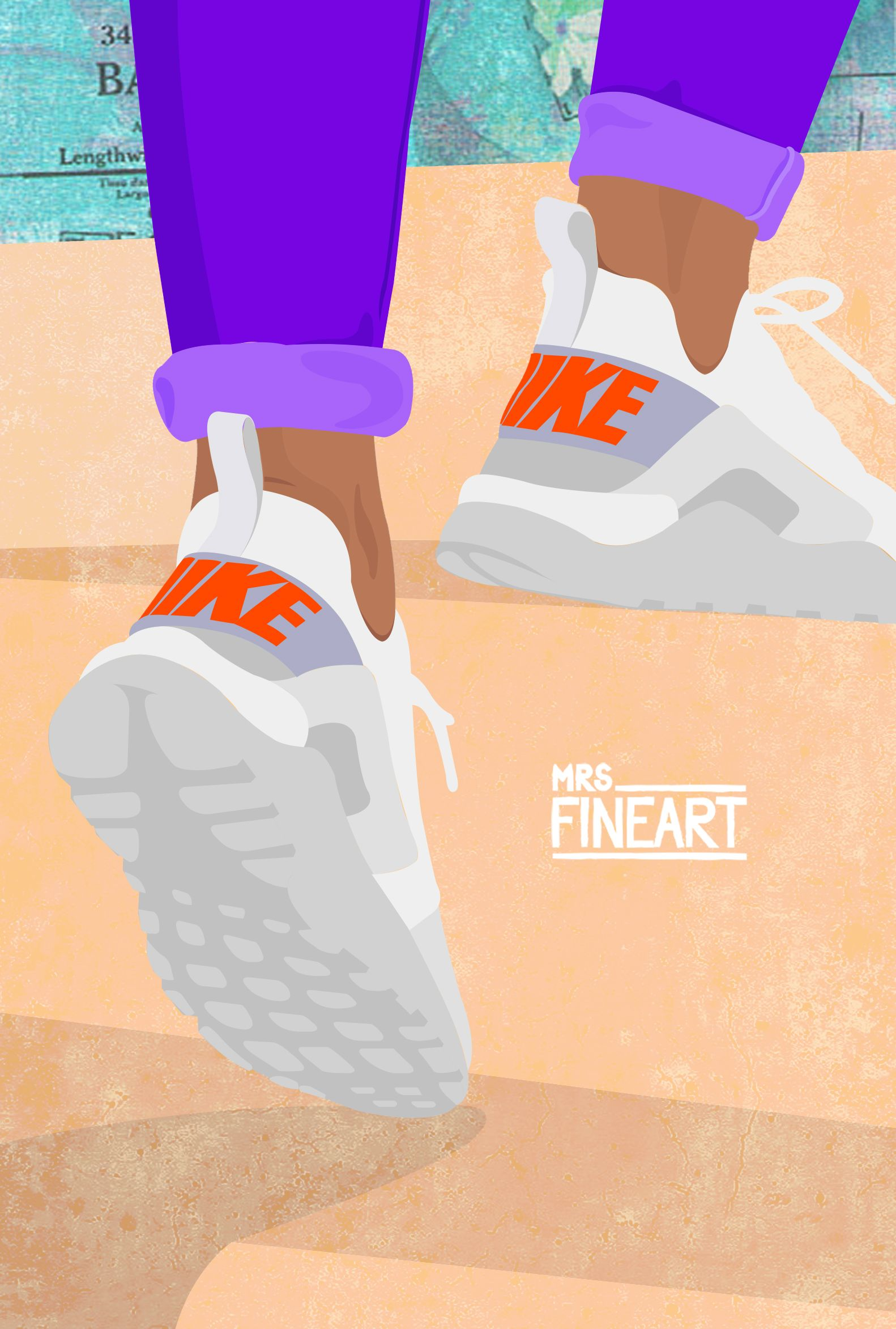 There is no elevator to succes, you have to take the stairs #byMrsFineart #nike #illustration