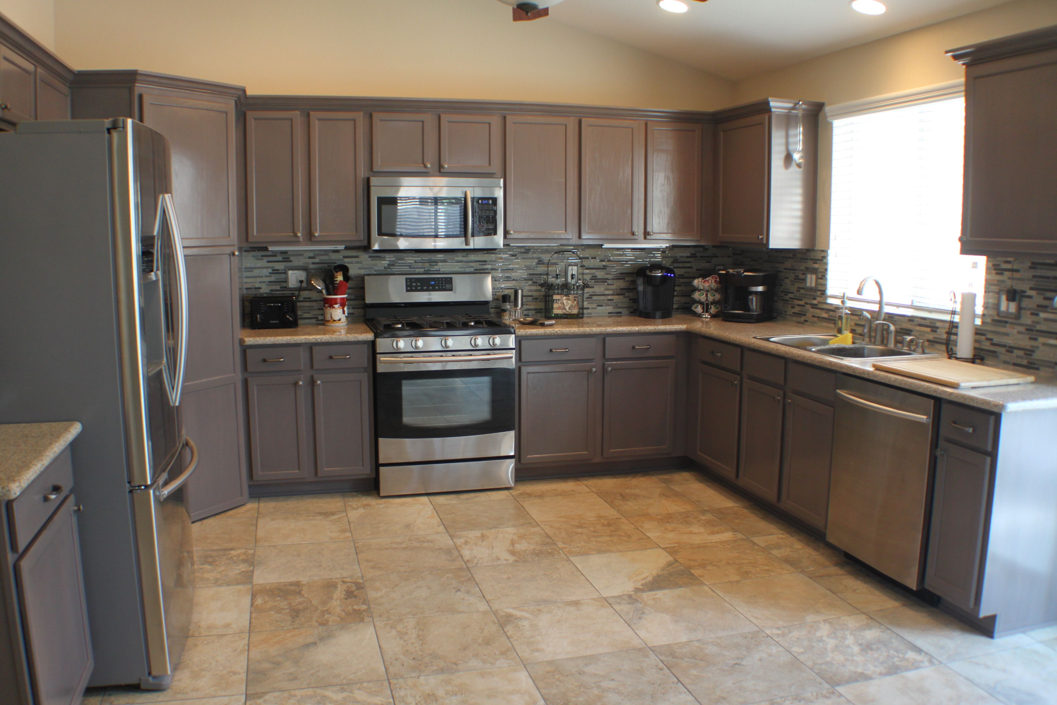 Trending Cabinet Color Grey Refinished By Las Vegas Remodel And Construction Home Remodeling Kitchen Remodel Remodel