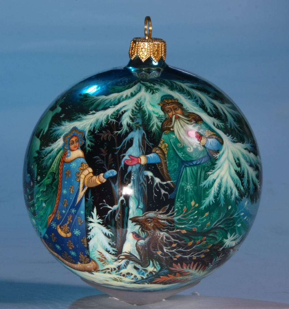 Russia Christmas Ornaments.Russian Fairytale Kholuy Style Collectible Hand Painted