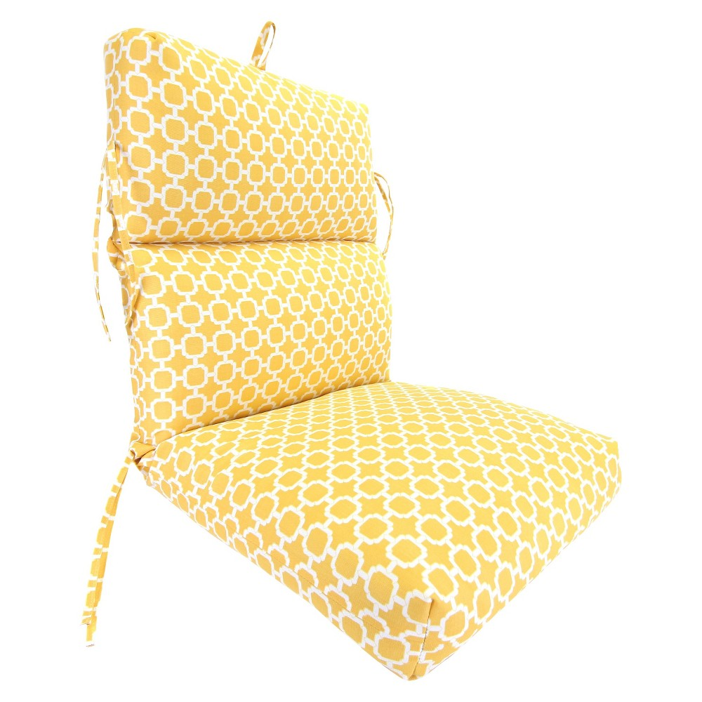 Outdoor Seat Cushion Yellow White Geometric 19 X17 Chair