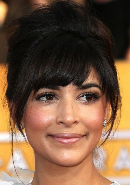 Medium Hairstyles With Bangs Updo With Swept Bangs And Tendrils Medium Hair Styles Fringe Hairstyles Long Hair Styles